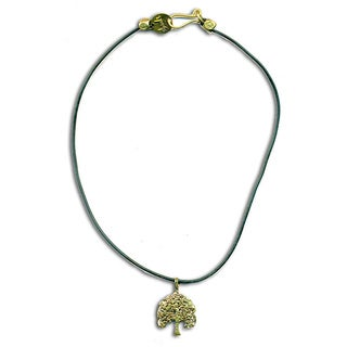Handmade Recycled Brass Bodhi Tree Rubber Necklace (Indonesia)