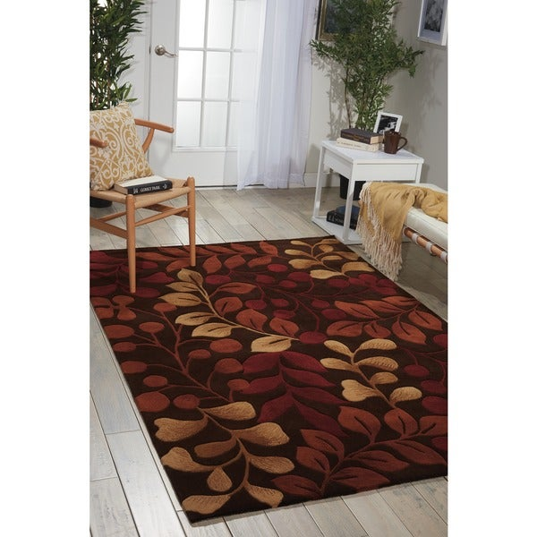 Nourison Hand-tufted Contours Botanical Chocolate Rug - 5' x 8'