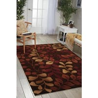 Nourison Hand-tufted Contours Botanical Chocolate Rug - 5' x 7'6