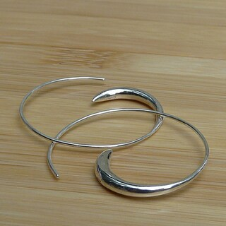 Handmade Sterling Silver Spiral Hoop Earrings (India)