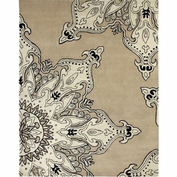 nuLOOM Handmade Moda Beige New Zealand Wool Rug (5' x 8')