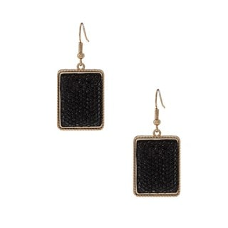 NEXTE Jewelry Goldtone Black Sparkle Bead Dangle Earrings