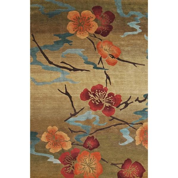 Shop Handmade Nepalese Kimono Gold Wool Rug