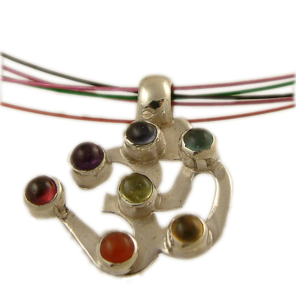 Sterling Silver Multi-Gemstone Chakra Om Necklace (India)