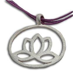 Handmade Sterling Silver Enlightenment Lotus Necklace (India) - Thumbnail 1