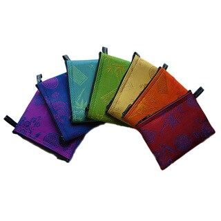 Handmade Set of 7 Silk Large Chakra-Colored Zip Purses (Vietnam)