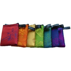 Set of 7 Silk Small Chakra-Colored Zip Purses (Vietnam)