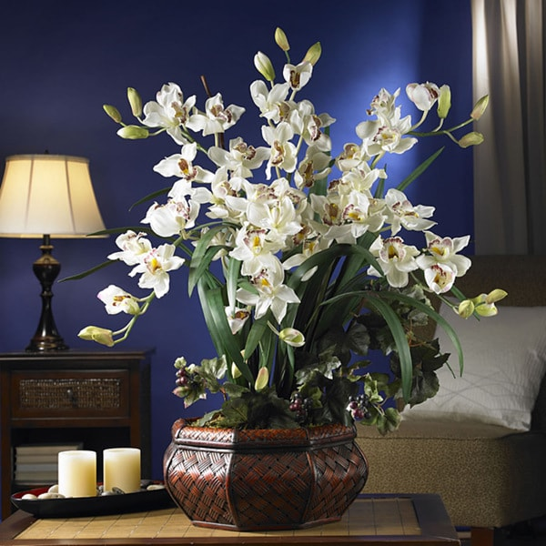 Shop large cymbidium silk flower arrangement free shipping today large cymbidium silk flower arrangement mightylinksfo