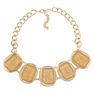 Nexte Jewelry Goldtone Champagne Sparkle Beaded Bib Necklace
