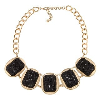 Nexte Jewelry Goldtone Black Sparkle Beaded Bib Necklace