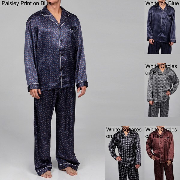 Alexander Del Rossa Men's Printed Satin Pajamas Set