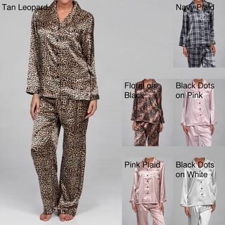 Alexander Del Rossa Women's Printed Satin Pajama Set