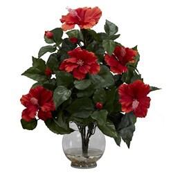 Fluted Vase Hibiscus Silk Flower Arrangement