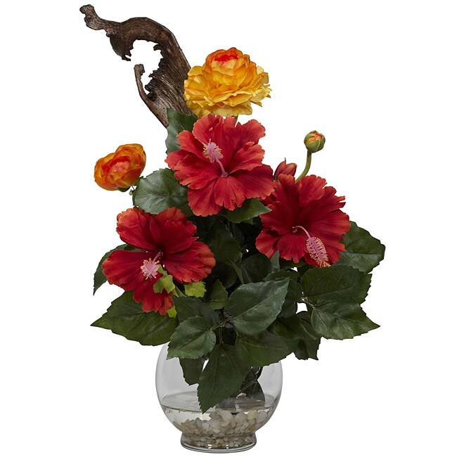 Fluted Bowl Hibiscus and Ranunculus Silk Flower Arrangement