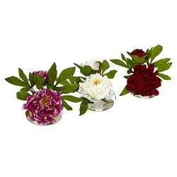 Glass Vase Peony Flower Arrangements (Set of 3)
