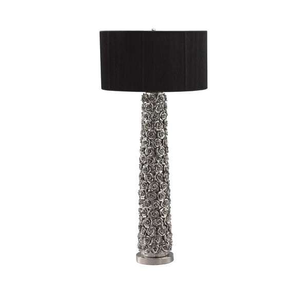 Tall Chromed Rose Column Table Lamp