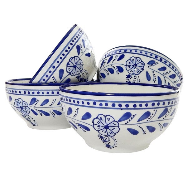 Set of 4 Azoura Design 5.5-in Soup or Cereal Bowls (Tunisia)