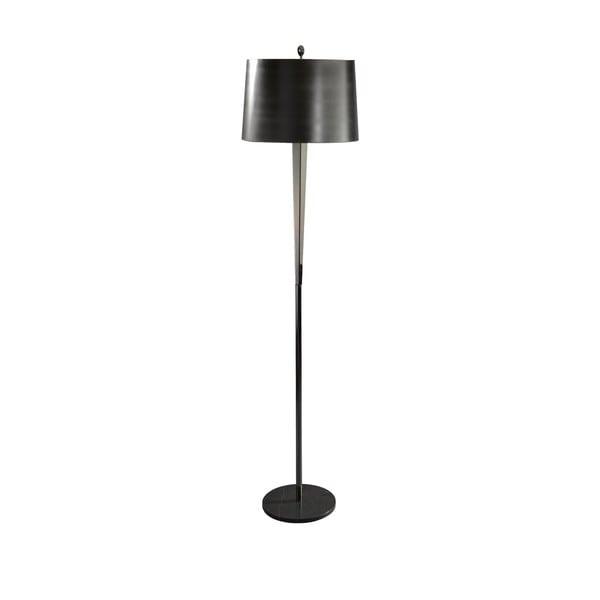Tall Black Chrome/ Black Marble Hexagon Column Floor Lamp