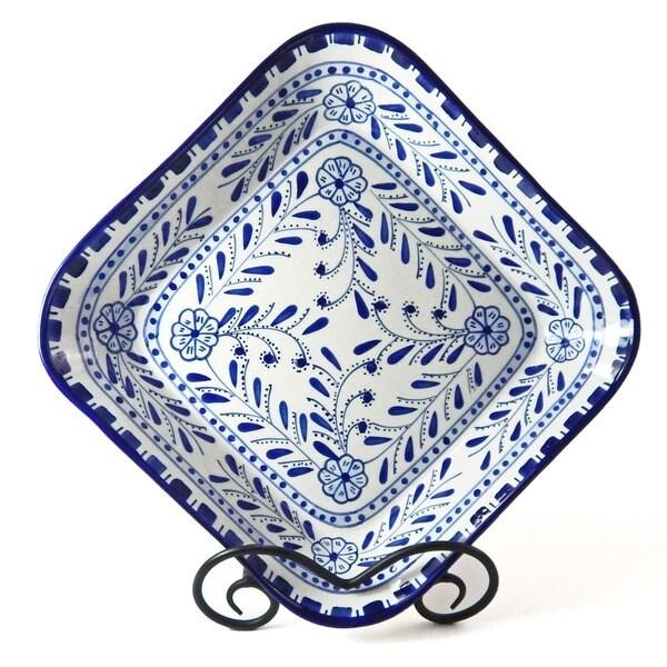 Handmade Azoura Design Ceramic 12-inch Square Bowl (Tunisia)