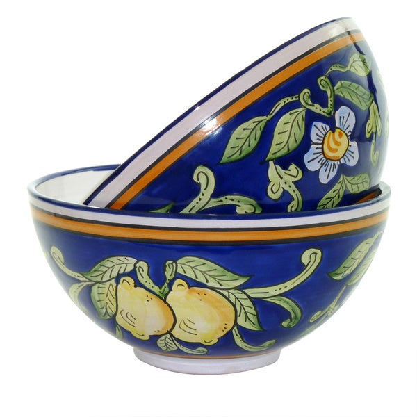 Citronique Design Ceramic 8-inch Bowls (Tunisia)