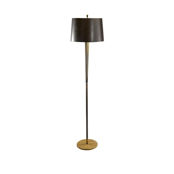 Tall Burnished Brass/ Wood Grain Stone Hexagon Column Floor Lamp