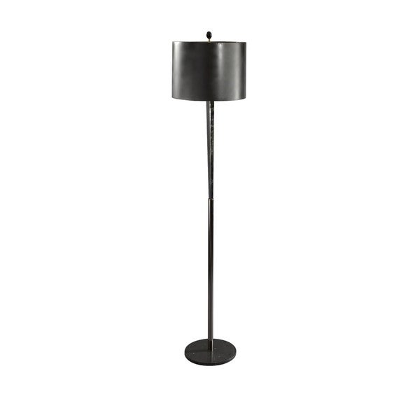 Tall Black Chrome/ Black Marble Triangle Column Floor Lamp