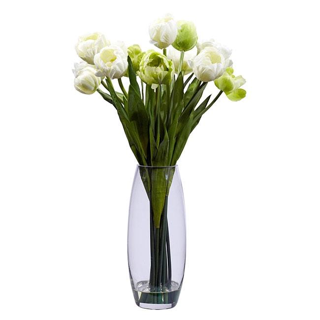 Tulips With Vase Silk Flower Arrangement Free Shipping