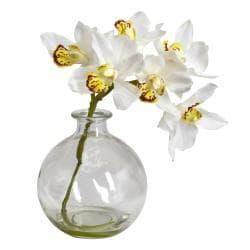 Cymbidium Bamboo Palm Orchid with Vase (Set of 3) - Thumbnail 2