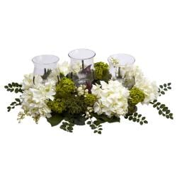 Snowball Hydrangea Triple Candelabrum Silk Flower Arrangement - Thumbnail 1