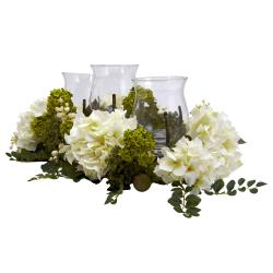Snowball Hydrangea Triple Candelabrum Silk Flower Arrangement - Thumbnail 2