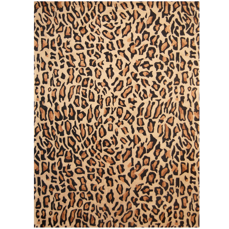 Handmade Cheetah Print Wool Rug