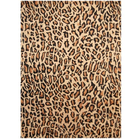 "Handmade Cheetah Print Wool Rug (India) - 7'6"" x 9'6"""
