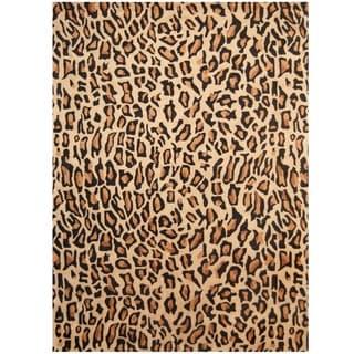 Herat Oriental Indo Hand-tufted Cheetah-print Wool Rug (7'6 x 9'6)