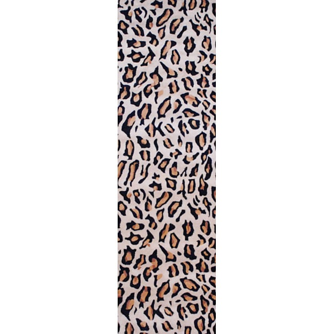 Indo Hand-tufted Cheetah-pattern Wool Rug (2'6 x 8)