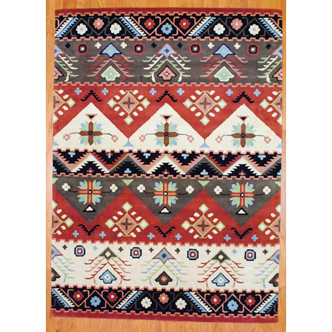 Indo Hand-tufted Tibetan Beige and Rust Wool Rug (5' x 8')