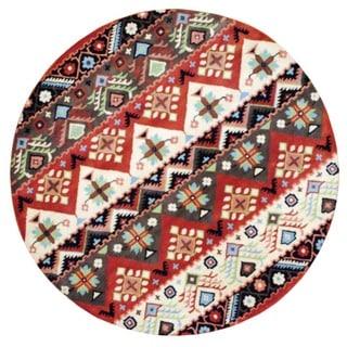 Herat Oriental Indo Hand-tufted Tibetan Beige/ Rust Wool Rug (8' Round)