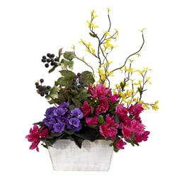 Mixed Floral with Azalea and White Wash Planter