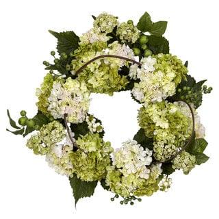 Nearly Natural Round 22-inch Hydrangea Wreath