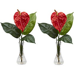 Anthurium with Bud Vase Silk Flower Arrangements (Set of 2)