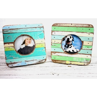 Handmade Chimlin Curve Boatwood Photo Frames (Set of 2) (Thailand)