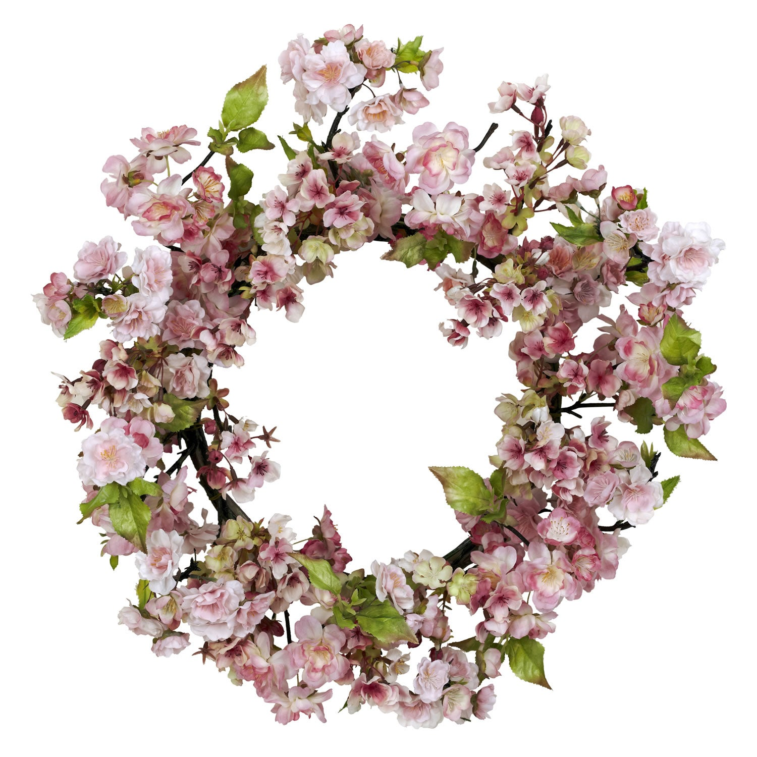 Shop Round 24 Inch Cherry Blossom Wreath Free Shipping