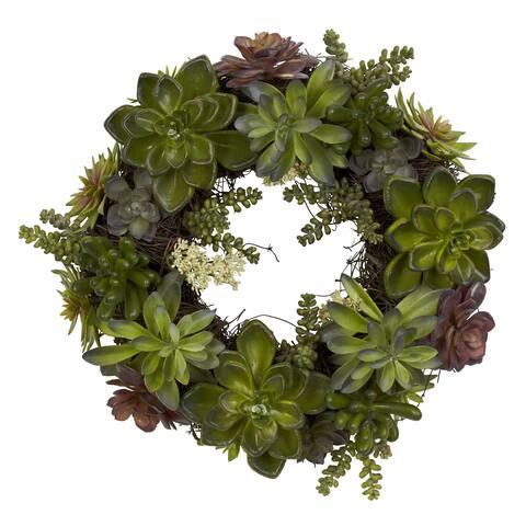 Round 20-inch Succulent Wreath