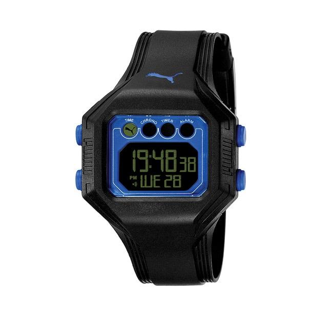 Puma Men's 'Bounce' Black and Blue Digital Watch