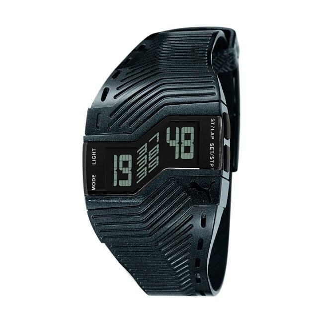 Puma Unisex 'TURN II' Metallic Black Digital Watch