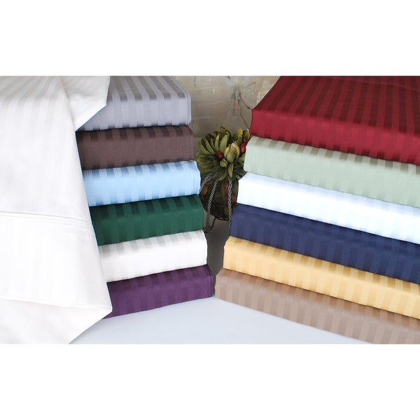 Superior 400 Thread Count Deep Pocket Split King Stripe Cotton Sheet Set