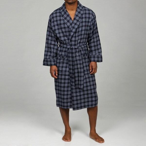 Nautica Men's Blue Plaid Flannel Robe FINAL SALE