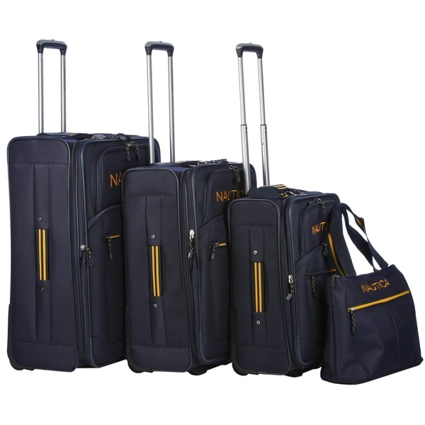 Nautica Helmsman Navy / Yellow 4-piece Luggage Set