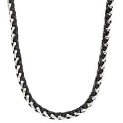 Two-tone Stainless Steel Men's 24-inch Wheat Chain Necklace By Ever One|https://ak1.ostkcdn.com/images/products/6268357/77/958/Two-tone-Stainless-Steel-Mens-24-inch-Wheat-Chain-Necklace-P13904792.jpg?impolicy=medium