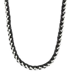 Two-tone Stainless Steel Men's 24-inch Wheat Chain Necklace By Ever One