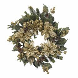 Golden Poinsettia Wreath